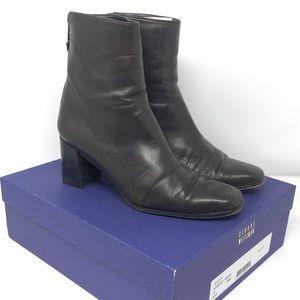Stuart Weitzman Leather Ankle Boots W Block Heel